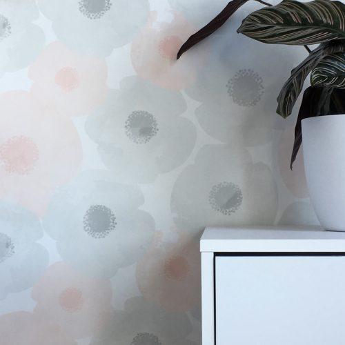 Watercolour Blooms Grey&Pink