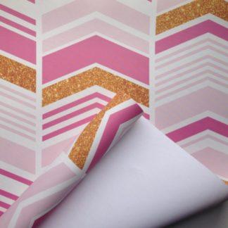 Chevron Stripes Pink & Gold