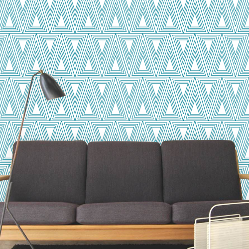 multi triangles blue room