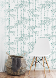 banana leaf jungle teal table-white-leather-chair-interio